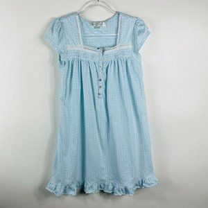 Eileen West Cotton Floral Nightgown Blue White
